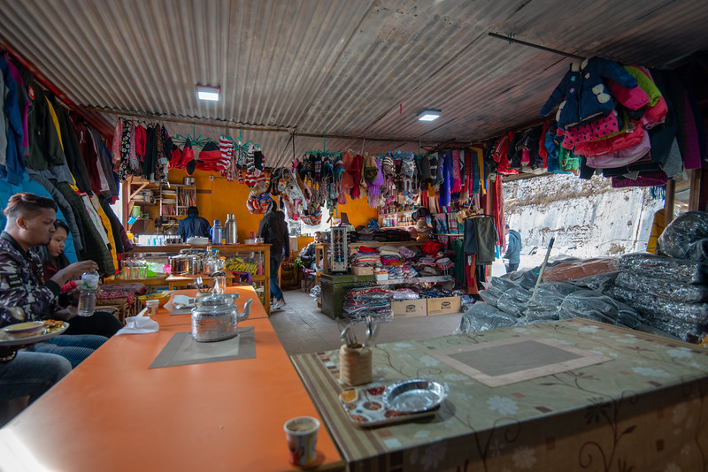 Simple food stop and shops on Jawaharlal Nehru Road, enroute Gangtok to Nathula Pass, East Sikkim, India. Indian army presence is seen at regular intervals as this location is close to Indo-China border.