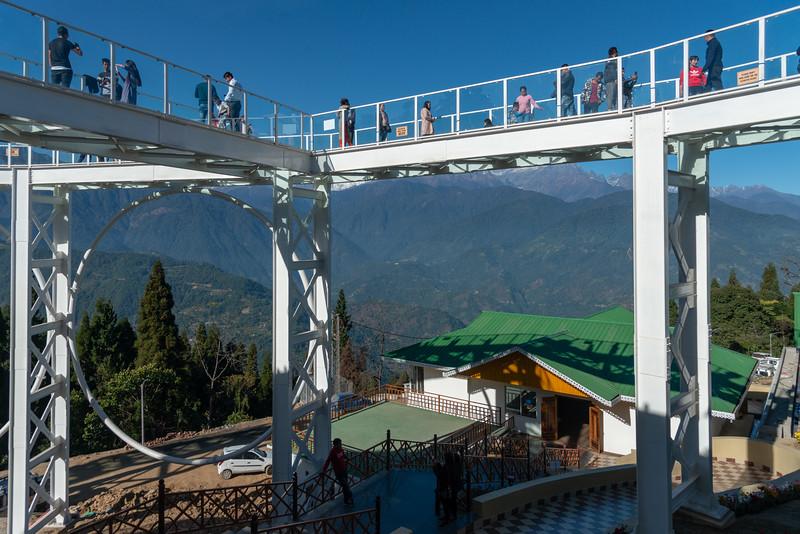 Sky Walk Pelling Sikkim (स्काई वॉक पेल्लिंग सिक्किम) at the Sanghak Choeling Monastery (संघक चोएलिंग मोनास्ट्री), Pelling City, East Sikkim. North East India. This 17th-century Buddhist monastery on a hill has a great view of Kanchandzanga mountain.