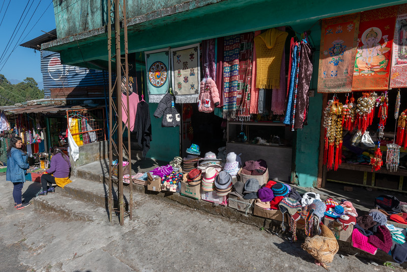 Shops on the way to Rumtek Dharma Chakra Centre (रूमटेक धर्मचक्र केन्द्र), Tsurphu Labrang Pal Karmae Sangha Dhuche, Sikkim, India. Colourful 17th century tranquil Buddhist monastery with scenic views including Gangtok city. North East India.