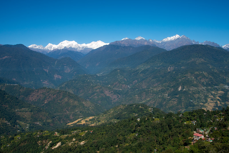 View of Kanchenjunga from viewing point at Upper Pelling, Sikkim. North East India.