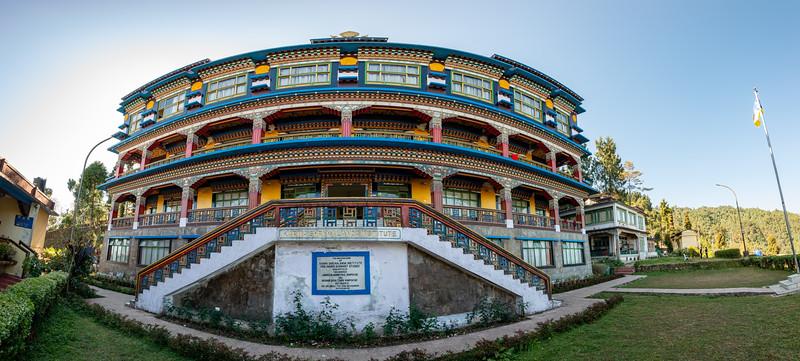 Panoramic view of Karma Shri Nalanda Institute (करमा श्री नालंदा इंस्टिट्यूट), Dharma Chakra Centre, Rumtek, Sikkim, North East India.