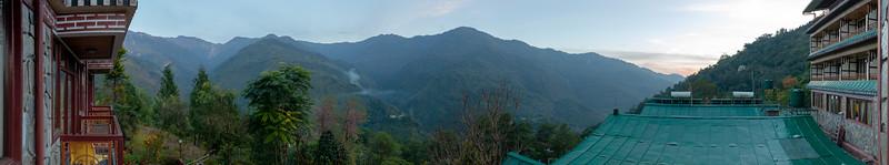 Panoramic view of Gangtok, East Sikkim from the room of Club Mahindra Gangtok.