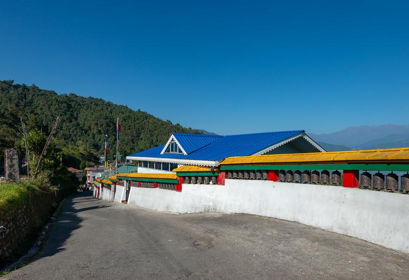 On the way to Rumtek Dharma Chakra Centre (रूमटेक धर्मचक्र केन्द्र), Tsurphu Labrang Pal Karmae Sangha Dhuche, Sikkim, India. Colourful 17th century tranquil Buddhist monastery with scenic views including Gangtok city.
