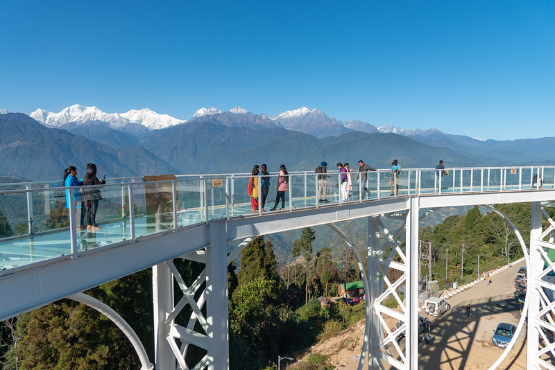 Sky Walk Pelling Sikkim (स्काई वॉक पेल्लिंग सिक्किम) at the Sanghak Choeling Monastery (संघक चोएलिंग मोनास्ट्री), Pelling City, Sikkim. This 17th-century Buddhist monastery on a hill has a great view of Kanchandzanga mountain. North East India.
