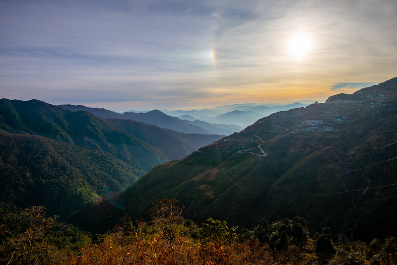 Stunning sunset view enroute Gangtok to Nathula Pass, East Sikkim, India. Close to Indo-China border.