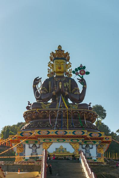 Gaint Statue Sangachuling Monasetery / Chenrezing (गैंट स्टैचू संगचुलिंग मोनासेतेरी / चेंरेजिंग) is located at Sanghak Choeling Monastery (संघक चोएलिंग मोनास्ट्री), Pelling City, Sikkim, North East India which is a 17th-century Buddhist monastery near Kanchandzanga.