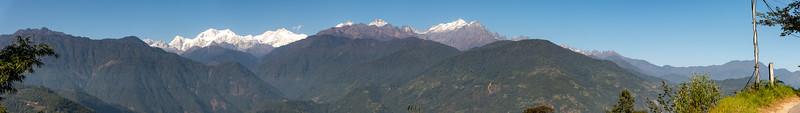 Panoramic view of Kanchenjunga mountain, Pelling-Rimbi Rd, Pelling City, Sikkim. North East India.