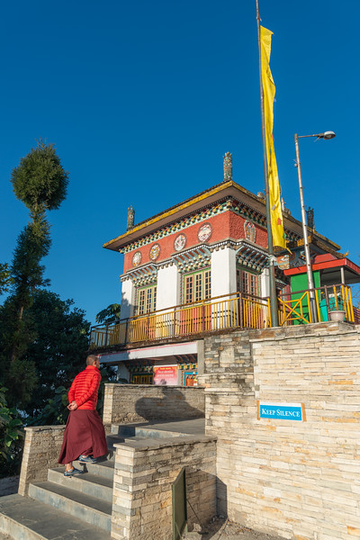 Entrance to Pemayangtse Monastery (पेमयांग्त्से मोनास्ट्री), Geyzing, Sikkim, North East India. Multi-level historic buddhist monastery built in the 17th century and featuring a number of traditional statues, sculptures & paintings.