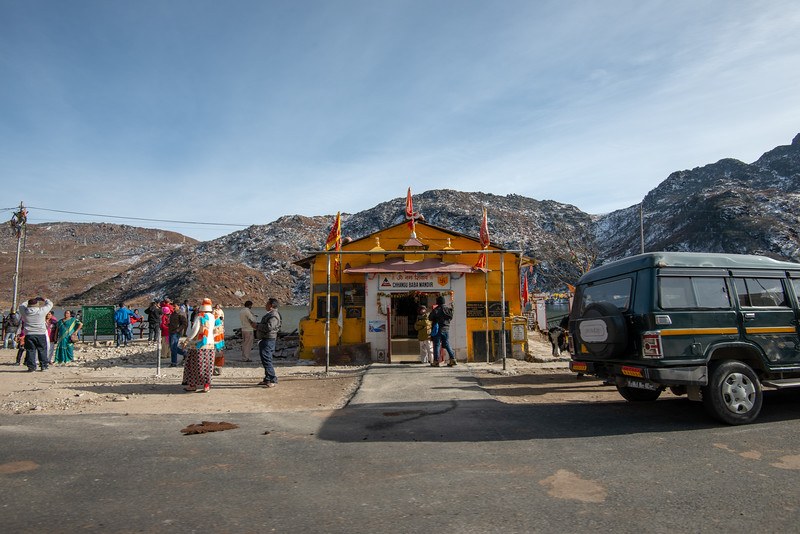 Chhangu Baba Mandir (छंगु बाबा मंदिर), Sikkim, India is in memory of a brave soldier of India. Located at the shore of Tsomgo Lake (त्सोम्गो लेक) at an altitude of over 10,000 ft is surrounded by mountains.