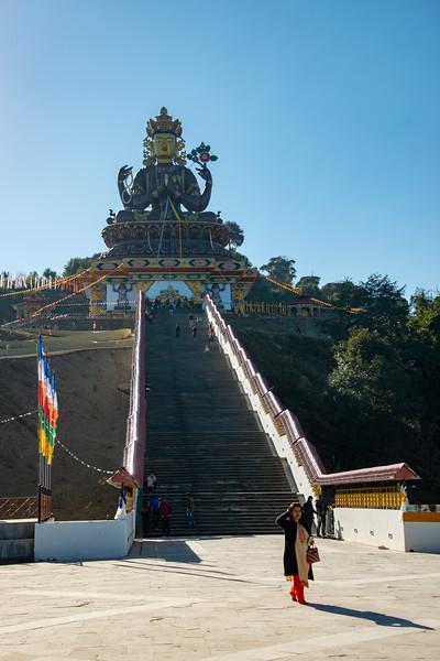 Gaint Statue Sangachuling Monasetery / Chenrezing (गैंट स्टैचू संगचुलिंग मोनासेतेरी / चेंरेजिंग) is located at Sanghak Choeling Monastery (संघक चोएलिंग मोनास्ट्री), Pelling City, Sikkim which is a 17th-century Buddhist monastery near Kanchandzanga, North East India.