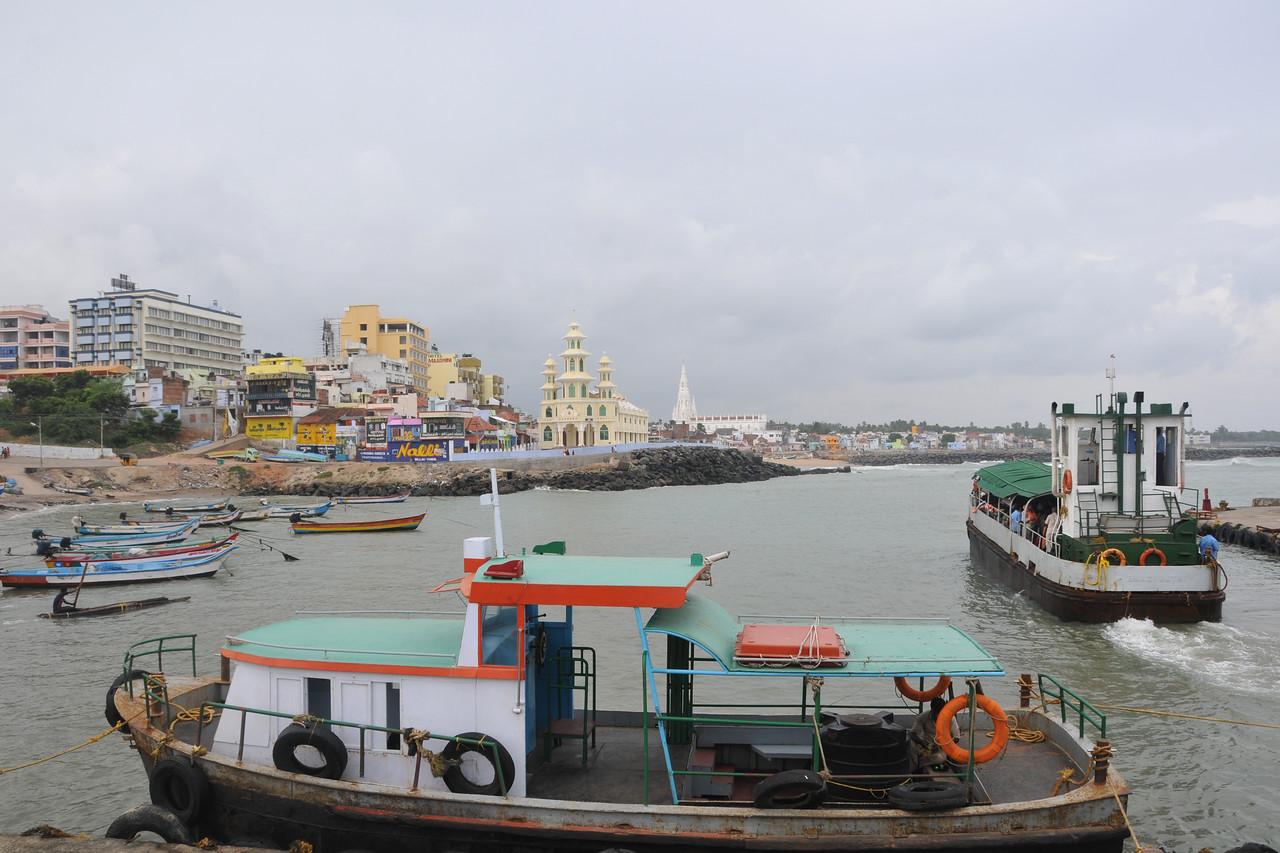 Boat to Swami Vivekananda Rock at Kanyakumari, South India.