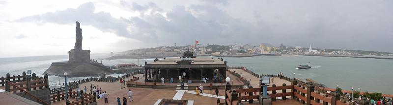 Panoramic image. Swami Vivekananda Rock at Kanyakumari, South India.