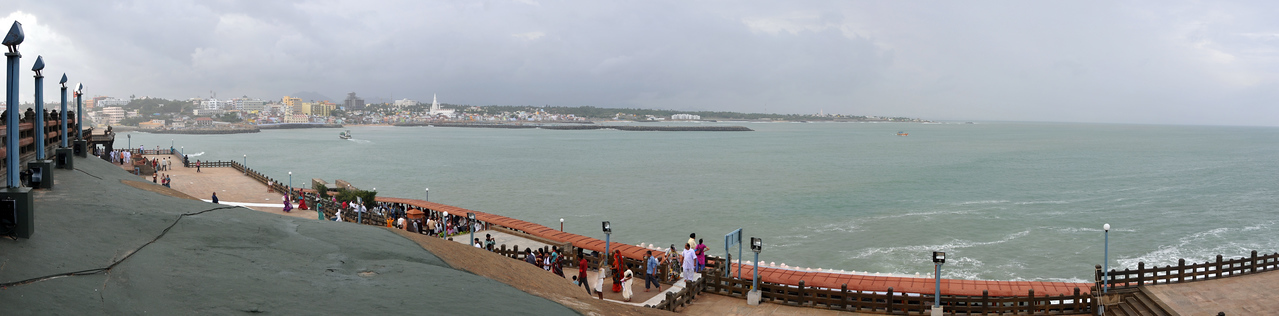 Panoramic image. Swami Vivekananda Rock at Kanyakumari, South India.