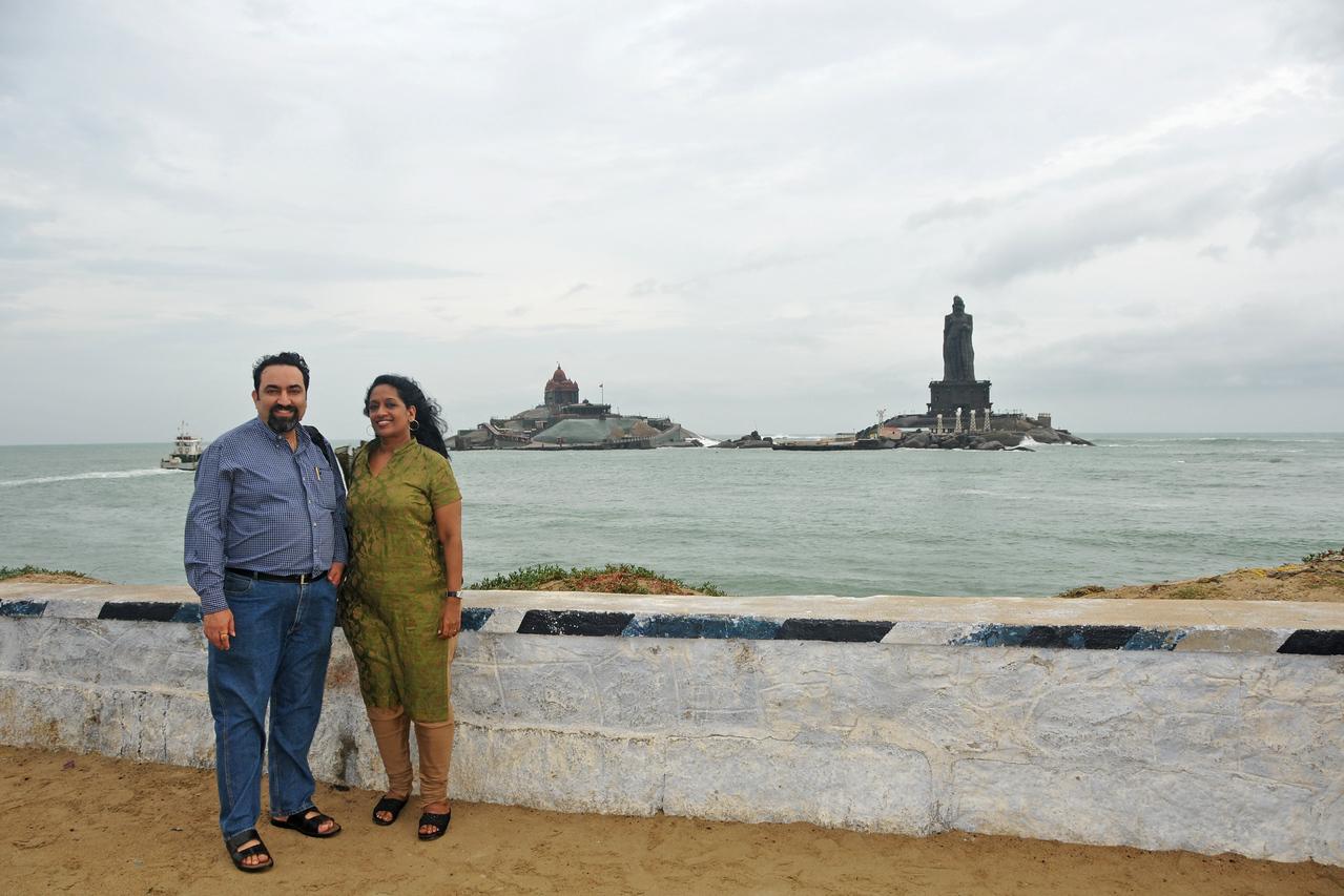 Anu & Suchit at Swami Vivekananda Rock at Kanyakumari, South India.