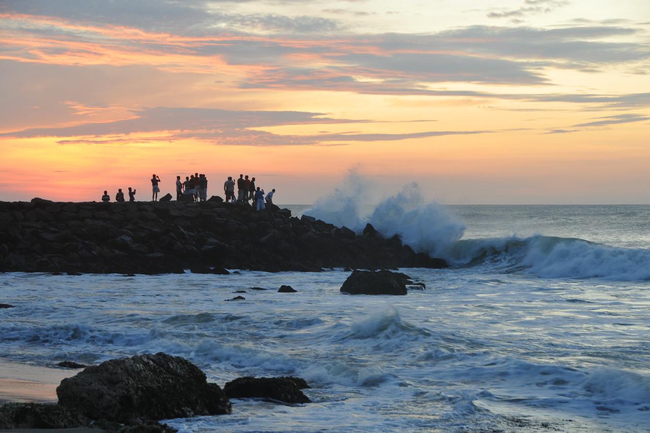 People come to see the sunrise at Kanyakumari, South India.