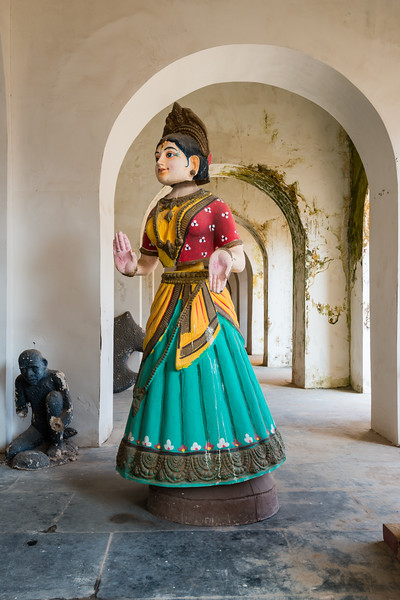 Full size doll at the Thanjavur Maratha Palace Complex. Also known locally as Aranmanai, it is the official residence of the Bhonsle family which ruled over the Tanjore region from 1674 to 1855. The palace complex consists of the Sadar Mahal Palace, the queen's courtyard and the Durbar Hall. The Raja Serfoji Memorial Hall and the Royal Palace Museum are situated in the Sadar Mahal Palace. There is also a small bell tower. The Saraswathi Mahal Library is situated with the Thanjavur palace complex.