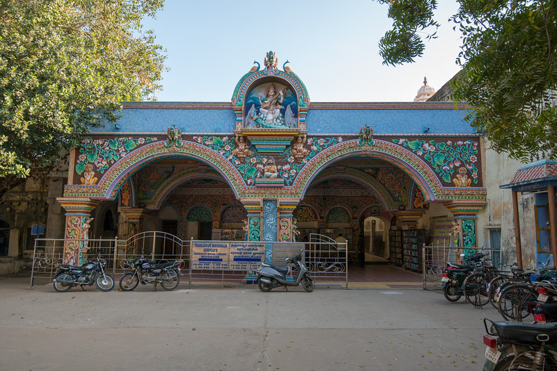 Saraswathi Mahal Library (சரசுவதி மகால் நூலகம்). Saraswathi Mahal Library or Tanjore Maharaja Serfoji's Sarasvati Mahal Library and Museum is located in Thanjavur, Tamil Nadu, India. It is one of the oldest libraries in Asia and has on display a rare collection of Palm leaf manuscripts and paper written in Tamil, Telugu, Marathi, Hindi and a few other languages indigenous to India. The collection comprises well over 49,000 volumes, though only a tiny fraction of these are on display. The library has a complete catalog of holdings, which is being made available online. Some rare holdings can be viewed on site by prior arrangement. There are also a number of old stone statues and idols on display.