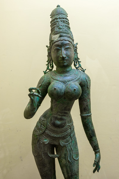 11-12th Century Parvathy statue. <br /> The Thanjavur Maratha Palace Complex, known locally as Aranmanai, is the official residence of the Bhonsle family which ruled over the Tanjore region from 1674 to 1855. The palace complex consists of the Sadar Mahal Palace, the queen's courtyard and the Durbar Hall. The Raja Serfoji Memorial Hall and the Royal Palace Museum are situated in the Sadar Mahal Palace. There is also a small bell tower. The Saraswathi Mahal Library is situated with the Thanjavur palace complex.