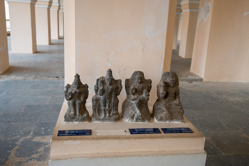 Vishnu-Durga, Daksinamurti and  Chandikeswara statues from Ariyacheri-Kumbakonam, 17-18th Century AD. <br /> The Thanjavur Maratha Palace Complex, known locally as Aranmanai, is the official residence of the Bhonsle family which ruled over the Tanjore region from 1674 to 1855. The palace complex consists of the Sadar Mahal Palace, the queen's courtyard and the Durbar Hall. The Raja Serfoji Memorial Hall and the Royal Palace Museum are situated in the Sadar Mahal Palace. There is also a small bell tower. The Saraswathi Mahal Library is situated with the Thanjavur palace complex.
