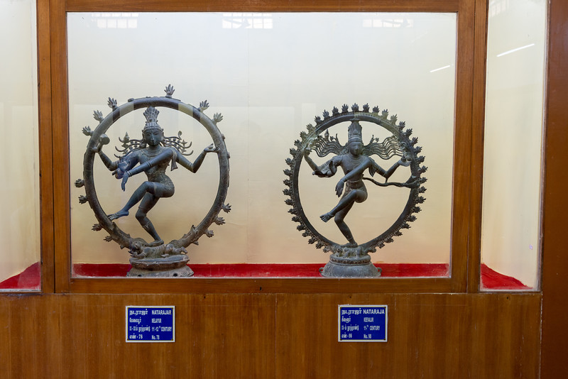 Nataraja 11th Century statues from Melaiyur and Keevalur.<br /> The Thanjavur Maratha Palace Complex, known locally as Aranmanai, is the official residence of the Bhonsle family which ruled over the Tanjore region from 1674 to 1855. The palace complex consists of the Sadar Mahal Palace, the queen's courtyard and the Durbar Hall. The Raja Serfoji Memorial Hall and the Royal Palace Museum are situated in the Sadar Mahal Palace. There is also a small bell tower. The Saraswathi Mahal Library is situated with the Thanjavur palace complex.