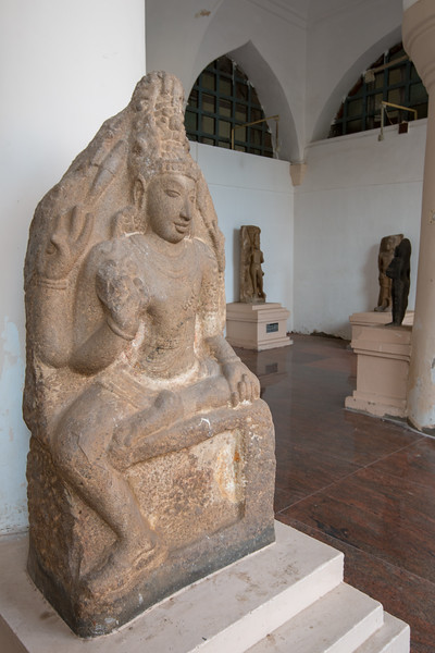 Buddha 14-16th Century statue from Patteeswaram, Vijayanagar. The Thanjavur Maratha Palace Complex, known locally as Aranmanai, is the official residence of the Bhonsle family which ruled over the Tanjore region from 1674 to 1855. The palace complex consists of the Sadar Mahal Palace, the queen's courtyard and the Durbar Hall. The Raja Serfoji Memorial Hall and the Royal Palace Museum are situated in the Sadar Mahal Palace. There is also a small bell tower. The Saraswathi Mahal Library is situated with the Thanjavur palace complex.
