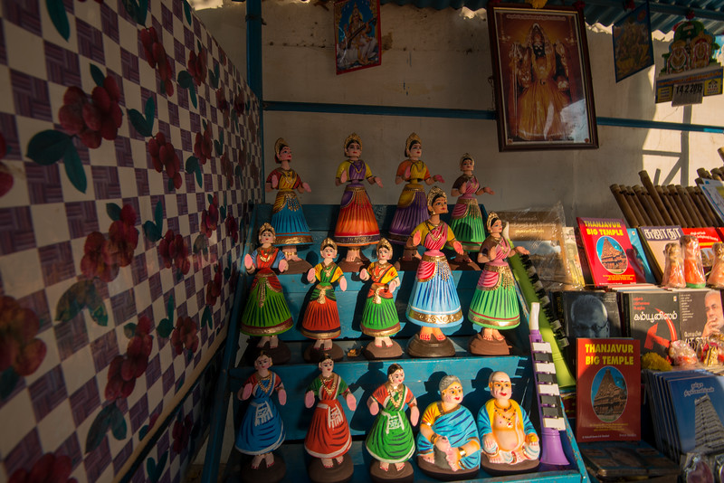 Shop selling dolls and book outside the temple in Thanjavur, Tamil Nadu, South India.