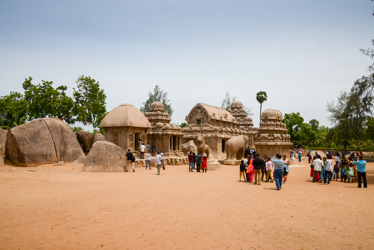 Many tourists visit Panch Pandava Rathas (பன்ச் பாண்டவ ரதாஸ்). Pancha Rathas is a monument complex at Mahabalipuram, on the Coromandel Coast of the Bay of Bengal, in the Kancheepuram district of the state of Tamil Nadu, India. Pancha Rathas is an example of monolithic Indian rock-cut architecture.