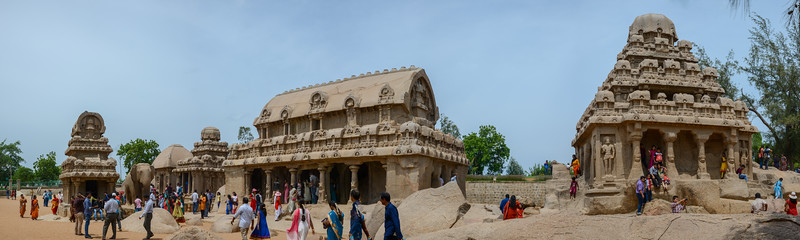 Panoramic view of Panch Pandava Rathas (பன்ச் பாண்டவ ரதாஸ்). Pancha Rathas is a monument complex at Mahabalipuram, on the Coromandel Coast of the Bay of Bengal, in the Kancheepuram district of the state of Tamil Nadu, India. Pancha Rathas is an example of monolithic Indian rock-cut architecture.