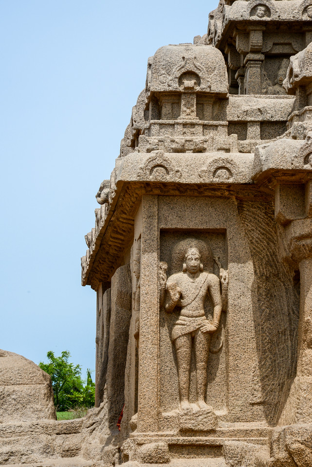 Stone/rock carvings at Panch Pandava Rathas (பன்ச் பாண்டவ ரதாஸ்). Pancha Rathas is a monument complex at Mahabalipuram, on the Coromandel Coast of the Bay of Bengal, in the Kancheepuram district of the state of Tamil Nadu, India. Pancha Rathas is an example of monolithic Indian rock-cut architecture.