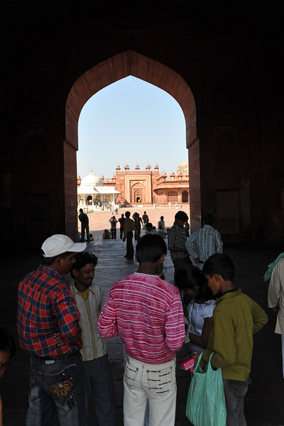 Buland Darwaza: One of the gateways to the Jama Masjid, is a stupendous piece of architecture.<br />  <br /> Fatehpur Sikri (Hindi: फतेहपुर सीकरी, Urdu: فتحپور سیکری) is a city and a municipal board in Agra district in the state of Uttar Pradesh, in North India. The historical city was constructed by Mughal Emperor Akbar beginning in 1570 and served as the empire's capital from 1571 until 1585. Though it took 15 years to build, it was abandoned after only 14 years of use because of shortage of water supply which was unable to sustain the growing population. The palace and mosque in Fatehpur Sikri are a tourist attraction and it is an UNESCO World Heritage Site which is about 40 km from the Taj Mahal, Agra. Uttar Pradesh state (UP), North India.