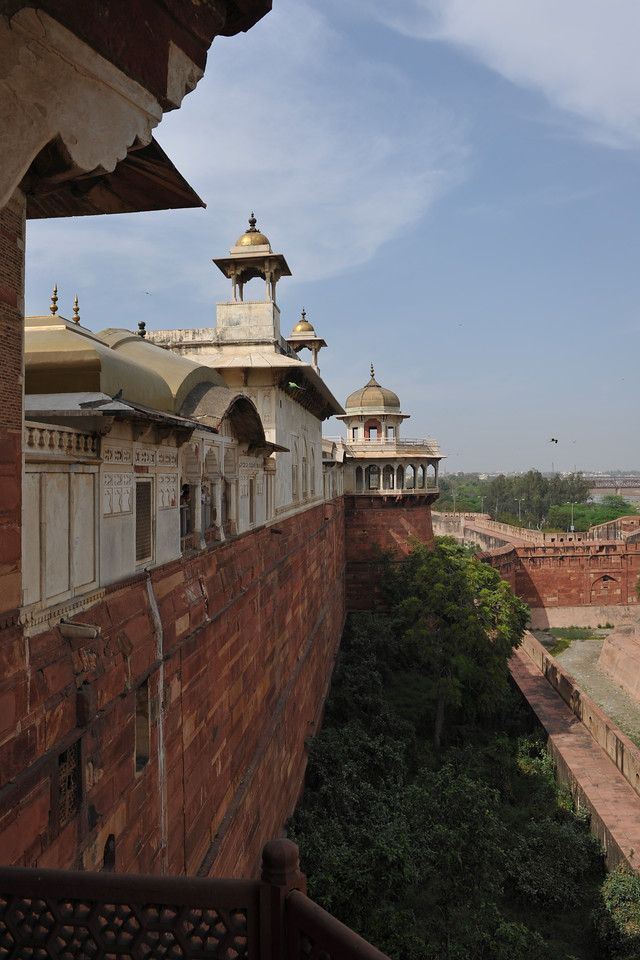 Inside of Agra Fort (Lal Qila) which is a UNESCO World Heritage site. It is about 2.5 km northwest of the Taj Mahal. The fort can be more accurately described as a walled palatial city.