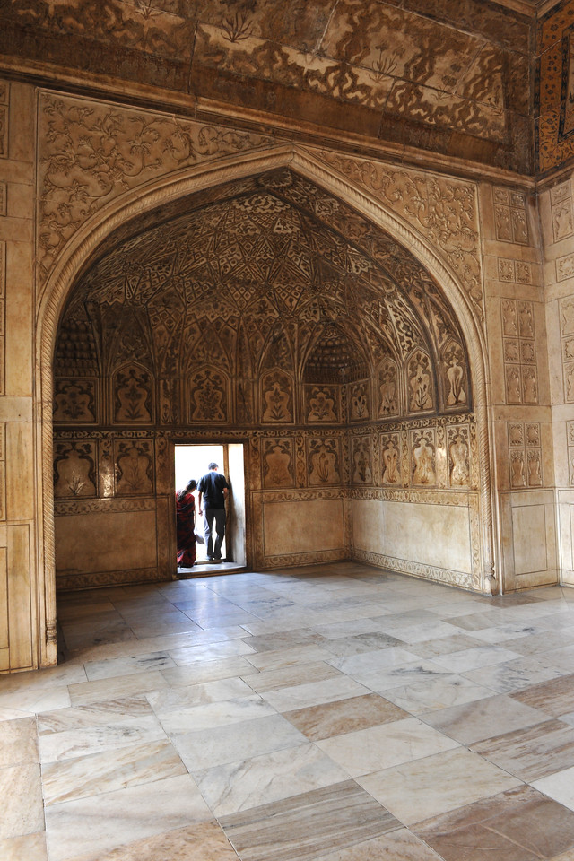 Agra Fort (Lal Qila) is a UNESCO World Heritage site. It is about 2.5 km northwest of the Taj Mahal. The fort can be more accurately described as a walled palatial city. Agra, Uttar Pradesh state (UP), North India.