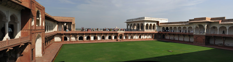 Panoramic view at Agra Fort.<br /> <br /> The Agra Fort (Lal Qila) is a UNESCO World Heritage site. It is about 2.5 km northwest of the Taj Mahal. The fort can be more accurately described as a walled palatial city. Agra, Uttar Pradesh state (UP), North India.