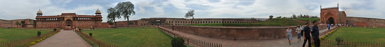 Panoramic view of Jahangiri Mahal at Agra Fort, India.<br /> <br /> Jahangiri Mahal (Hindi: जहाँगीरी महल, Urdu: جہانگیری محل), is the most prominent building inside the Agra Fort of India. The Mahal was the principal zenana (palace for women belonging to the royal household), and was used mainly by the Rajput wives of Akbar. The building is made of red sandstone. A splendid gateway leads to an interior courtyard surrounded by grand halls covered with profuse carvings on stone, heavily fashioned brackets, piers, and crossbeams. One can still spot remnants of decoration in gold and blue done in the prevalent Indo-Persian style.