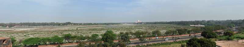 Panoramic view of Taj Mahal from the Musamman Burj, where Shah Jahan spent the last seven years of his life under house arrest by his son Aurangzeb. Agra Fort (Lal Qila) is a UNESCO World Heritage site. It is about 2.5 km northwest of the Taj Mahal. The fort can be more accurately described as a walled palatial city. Agra, Uttar Pradesh state (UP), North India.