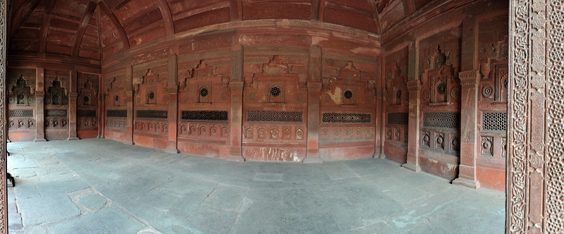 Panoramic view of decorated columns at Agra Fort (Lal Qila).  The fort is about 2.5 km northwest of the Taj Mahal. The fort can be more accurately described as a walled palatial city.