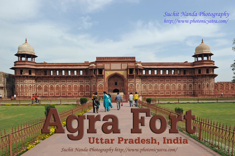 Agra Fort, UP, North India<br /> <br /> Jahangiri Mahal (Hindi: जहाँगीरी महल, Urdu: جہانگیری محل), is the most prominent building inside the Agra Fort of India. The Mahal was the principal zenana (palace for women belonging to the royal household), and was used mainly by the Rajput wives of Akbar. The building is made of red sandstone. A splendid gateway leads to an interior courtyard surrounded by grand halls covered with profuse carvings on stone, heavily fashioned brackets, piers, and crossbeams. One can still spot remnants of decoration in gold and blue done in the prevalent Indo-Persian style.