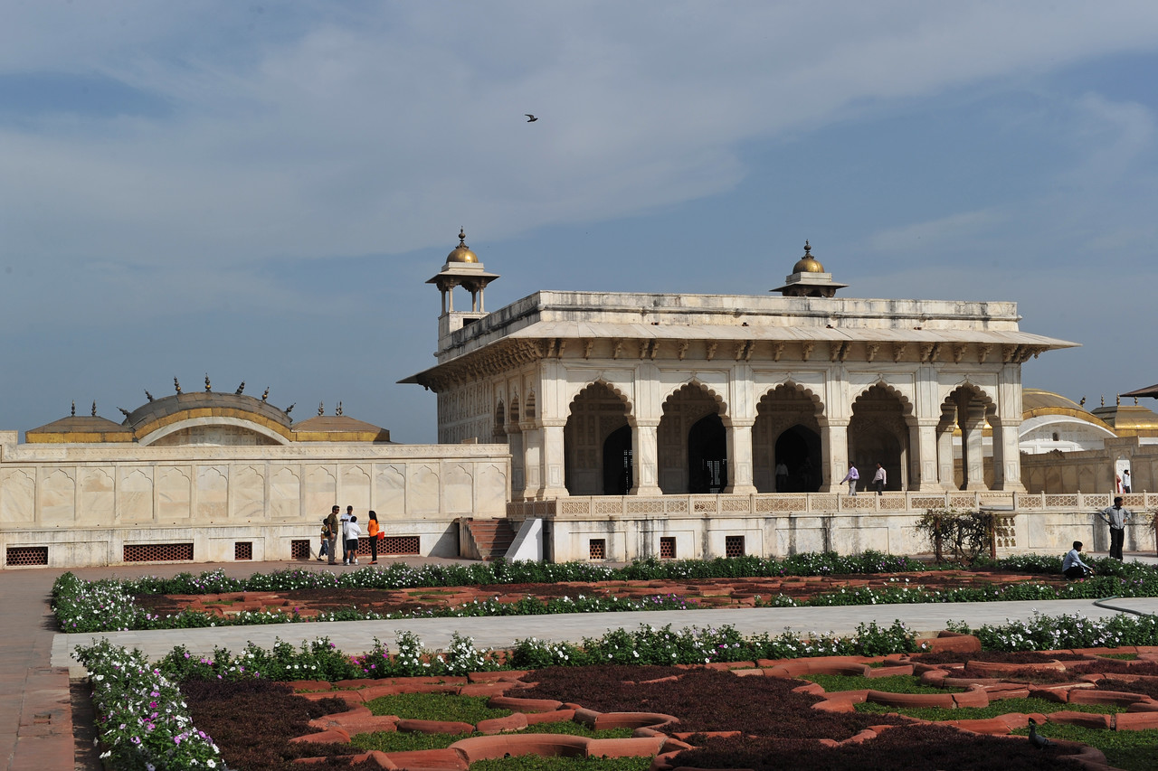 The Khas Mahal at Agra Fort.<br /> Agra Fort (Lal Qila) is a UNESCO World Heritage site. It is about 2.5 km northwest of the Taj Mahal. The fort can be more accurately described as a walled palatial city. Agra, Uttar Pradesh state (UP), North India.
