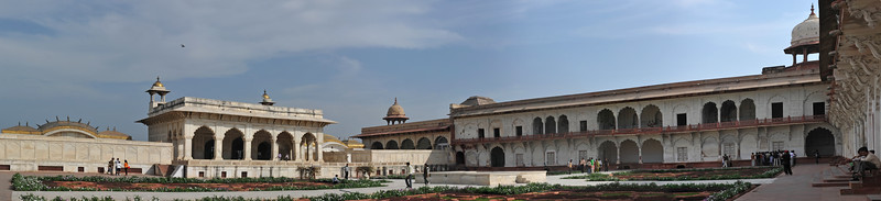 Panoramic view of The Khas Mahal at Agra Fort.<br /> Agra Fort (Lal Qila) is a UNESCO World Heritage site. It is about 2.5 km northwest of the Taj Mahal. The fort can be more accurately described as a walled palatial city. Agra, Uttar Pradesh state (UP), North India.