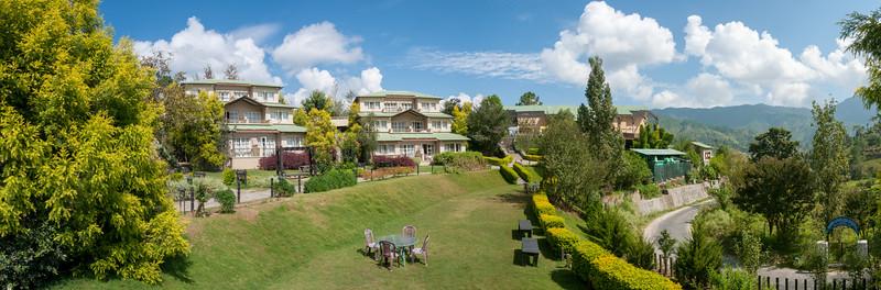 Panoramic view of Club Mahindra Binsar Valley Resort in the Kumaon Himalayan range. Binsar offers a breathtaking view of the snowy mountain ranges of Panchchuli, Shivling, Chaukhamba, Trishul and Nanda Devi.