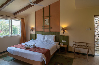 Rooms at the Club Mahindra Binsar Valley Resort in the Kumaon Himalayan range. Binsar offers a breathtaking view of the snowy mountain ranges of Panchchuli, Shivling, Chaukhamba, Trishul and Nanda Devi.