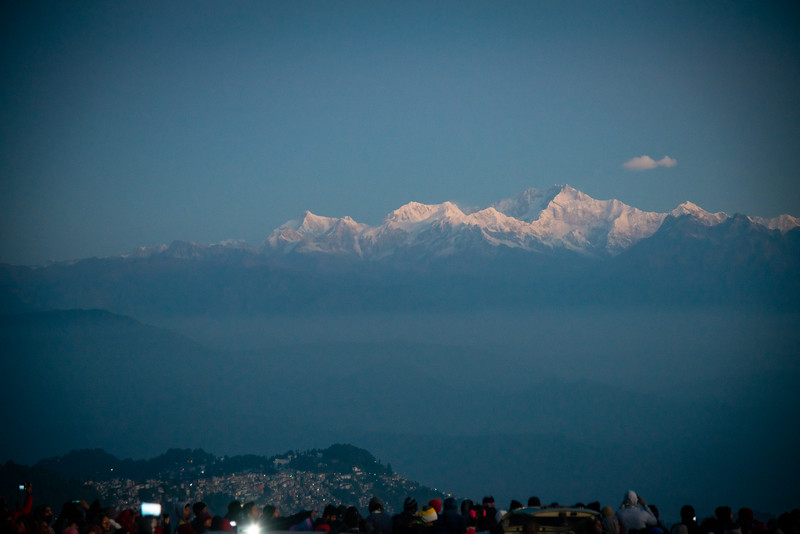 Sunrise at Tiger Hill. Darjeeling, West Bengal<br /> <br /> Awesome to see the sunrise at Kanchanzanga - 3rd highest peak of the world.<br /> <br /> Tiger Hill is located 11kms (6.8 miles) from Darjeeling town and above Ghum. It's the highest point in Darjeeling hills at an altitude of 8482 feet (or 2590 meters).