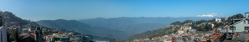 Panoramic view of Darjeeling, West Bengal. Located at an elevation of 6,700 ft (2,042.2 m). North East India.