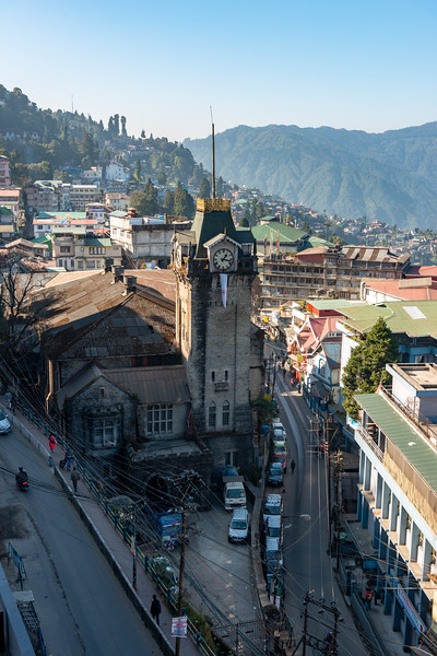 Famous clock tower in Darjeeling, West Bengal. Darjeeling is located at an elevation of 6,700 ft (2,042.2 m) in WB, North East India.