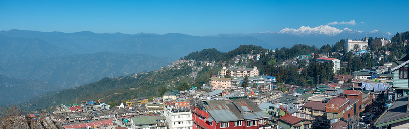 Panoramic city view. Darjeeling, West Bengal is located at an elevation of 6,700 ft (2,042.2 m). North East India.