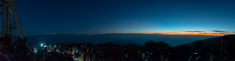 Panoramic sunrise at Tiger Hill. Darjeeling, West Bengal, North East India.<br /> <br /> Awesome to see the sunrise at Kanchanzanga - 3rd highest peak of the world.<br /> <br /> Tiger Hill is located 11kms (6.8 miles) from Darjeeling town and above Ghum. It's the highest point in Darjeeling hills at an altitude of 8482 feet (or 2590 meters).