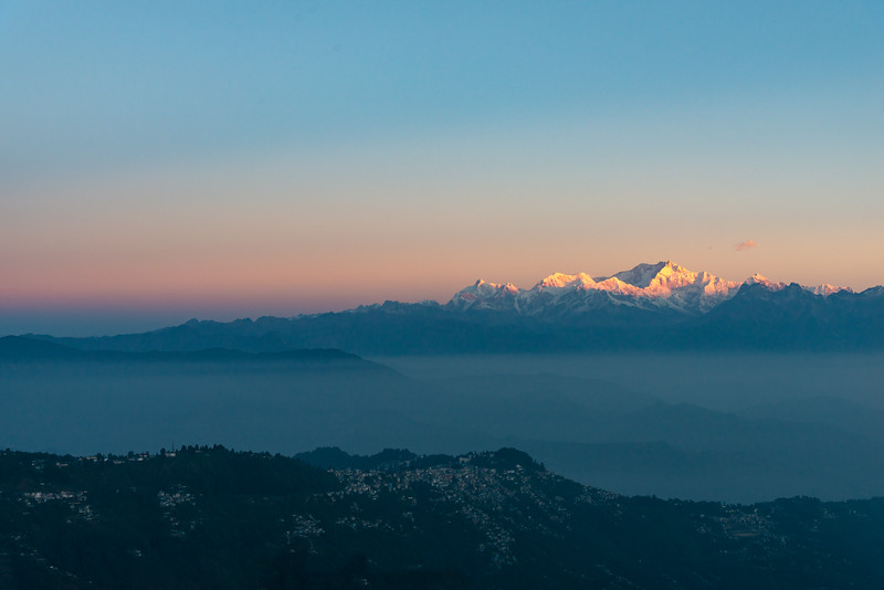 Sunrise at Tiger Hill. Darjeeling, West Bengal, North East India.<br /> <br /> Awesome to see the sunrise at Kanchanzanga - 3rd highest peak of the world.<br /> <br /> Tiger Hill is located 11kms (6.8 miles) from Darjeeling town and above Ghum. It's the highest point in Darjeeling hills at an altitude of 8482 feet (or 2590 meters).