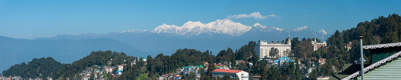 Panoramic view at Darjeeling. Darjeeling, West Bengal, North East India is located at an elevation of 6,700 ft (2,042.2 m).