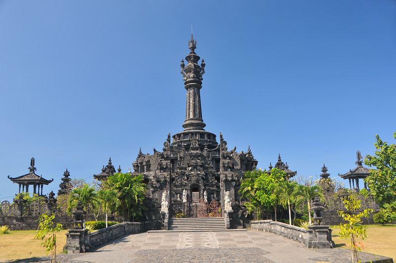 People's Struggle Monument <br /> On Saturday, June 14, 2003, President Megawati Soekarnoputri on a visit to Bali released open the 25th Annual Bali Arts Festival and also the Monument to the Balinese People's Struggle (Monumen Perjuangan Rakyat Bali) located in the Niti Mandala area of the Renon sub-district of Denpasar.<br /> <br /> Costing Rp. 11.3 billion (approximately US$ 1.35 million) and constructed sporadically over a period of 16 years, the Monument records Bali's history from prehistoric times through its struggle for independence from 1945-1950 via 33 dioramas.<br /> <br /> Dominating the Niti Mandala Park Square, entrance to the monument is via the south side of the park. The Monument is divided into three sections with architecture inspired by Bali's Tri Mandala symbol. Bali, Indonesia.