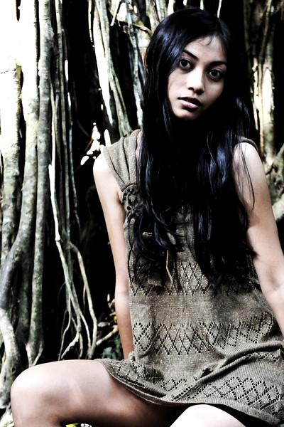Nensi (Photographer I Putu Arya Sentanoe's girlfriend) at the Monkey Forest, Ubud, Bali.